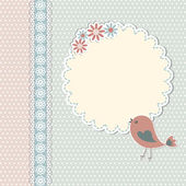 Vintage template with bird and flowers — Vettoriale Stock