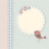 Vintage vorlage mit blumen und vogel — Stockvektor