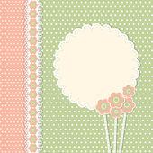 花を持つヴィンテージ テンプレート — ストックベクタ