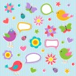 Set of vector speech bubbles with cute birds — Imagens vectoriais em stock