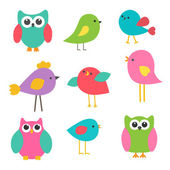 Vector set cute birds and owls — Stock Vector