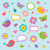 Set of vector speech bubbles with cute birds — Vettoriale Stock