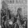 King Solomon received in the palace — Stock Photo