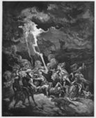 Elijah destroys the messengers of Ahaziah — Stock Photo