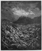 The destruction of the Ammonites and Moabites — Stock Photo