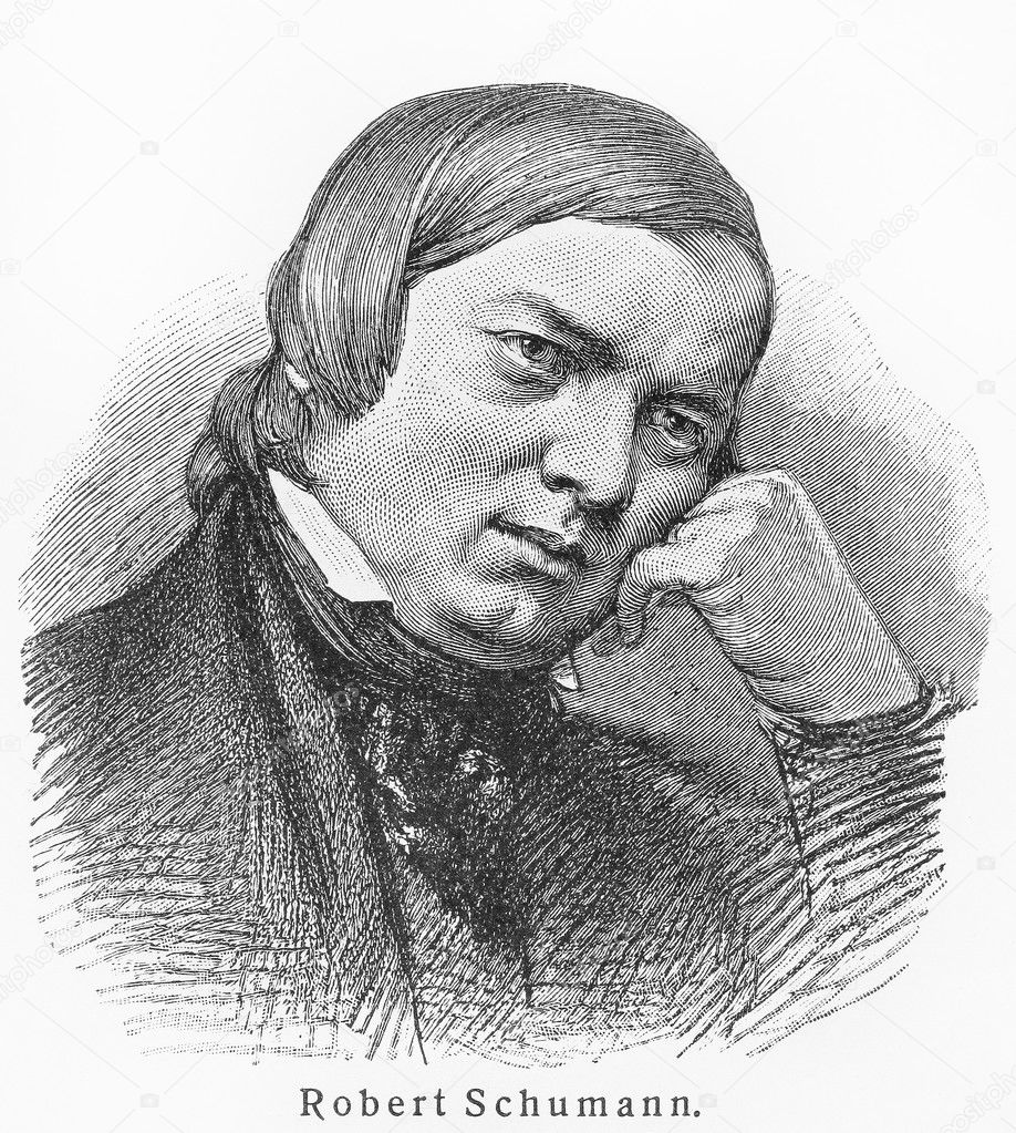 Robert Schumann Picture from Meyers Lexicon books written in German