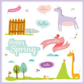 Spring background with animals — Stock Vector