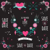 Wedding romantic collection — Stock Vector
