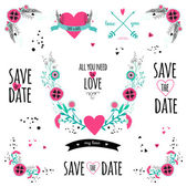 Wedding romantic collection — Vector de stock