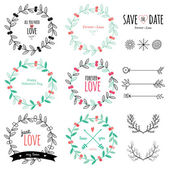 Wedding romantic set with labels — Stock Vector