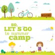 Lets go camp template — Stock Vector