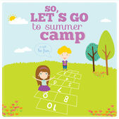 Lets go to summer camp — Stock Vector