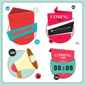 Coming soon tags — Vector de stock