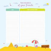 Cartoon beach  elements for notebook — Stock Vector