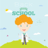 Happy kid welcome to school. — Stock Vector