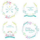 Greeting floral labels — Stock Vector