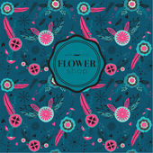 Seamless pattern with flowers labels — Stockvektor