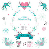 Romantic collection with greeting labels — Stock Vector