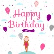 Happy birthday card with balloons and monkey. — Stock Vector #50828337