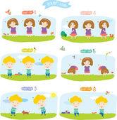 Kids do exercises — Stock Vector
