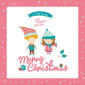 Happy Kids wishes you Merry Christmas in cartoon style — Stock Vector