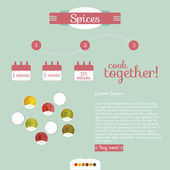 Info graphic background of spices — Stock Vector