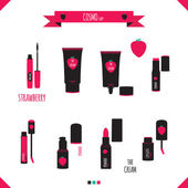 Romantic and beauty set of cosmetics icons. — Vecteur