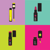 Romantic and beauty set of cosmetics icons. — Stockvektor