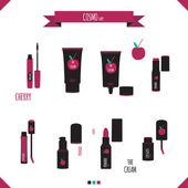 Romantic and beauty set of cosmetics icons. — Διανυσματικό Αρχείο