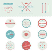 Vintage collection of badges, labels, tapes with cookies — Stock Vector