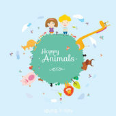 Happy birthday card  with cute and funny animals and children — Stock Vector