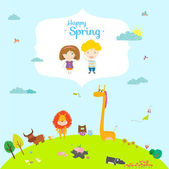 Happy birthday card  with cute and funny animals and children. Spring season. — Vecteur