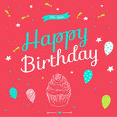 Happy birthday card  with balloons and cake. — Stock Vector