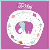 Happy birthday card with flying snakes and animals. — Stock Vector