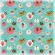 Food seamless pattern with dessert icons — Stock Vector #50833177