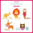 Funny and cute zoo alphabet. K, l, m, n, o letters. — Stock Vector #50830853