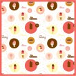 Food seamless pattern with dessert icons — Stock Vector #50833025