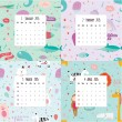Unusual calendar for 2015 with cartoon and funny animals pattern — Cтоковый вектор