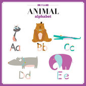 Funny and cute zoo alphabet. A, b, c, d, e letters. — Stock Vector