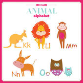 Funny and cute zoo alphabet. K, l, m, n, o letters. — Stock Vector