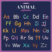 Funny and cute zoo alphabet  ABC — Vetorial Stock