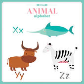 Funny and cute zoo alphabet. X, y, z letters. — Stock Vector
