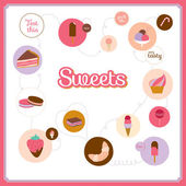 Set of icons of cute design dessert icons in circles — Stock Vector