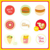 Set of cute design elements with fast food icons in circles — Stock Vector