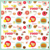 Food pattern with fast food icons in circles — Vector de stock