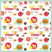 Modello di cibo con le icone fast food nei circoli — Vettoriale Stock