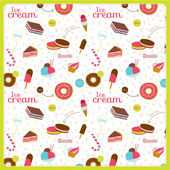 Food pattern with dessert icons — Stock Vector