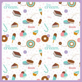 Food seamless pattern with dessert icons — Stock Vector