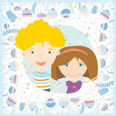 Cute illustration with smile and happy boy and girl — Vector de stock