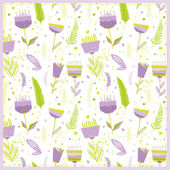 Floral seamless pattern with flowers icons — Stockvector